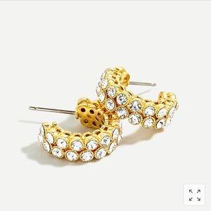 Crystal bezel hoop earrings
